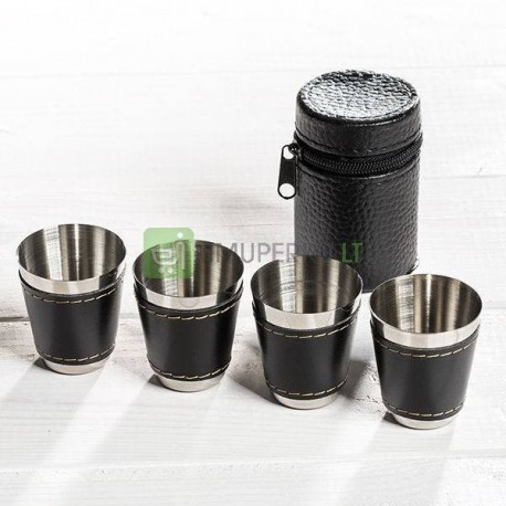 Stainless steel shot glass in case - 4 pcs set