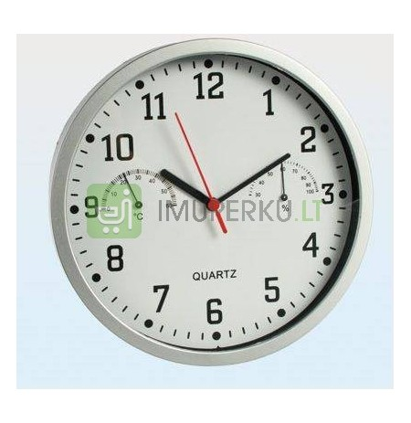 Wall clock with thermo and humidity meter - SILVER