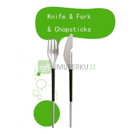 Fork & Knife Chopsticks black&white