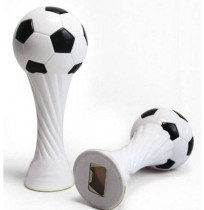 Fottball bottle opener with rattle