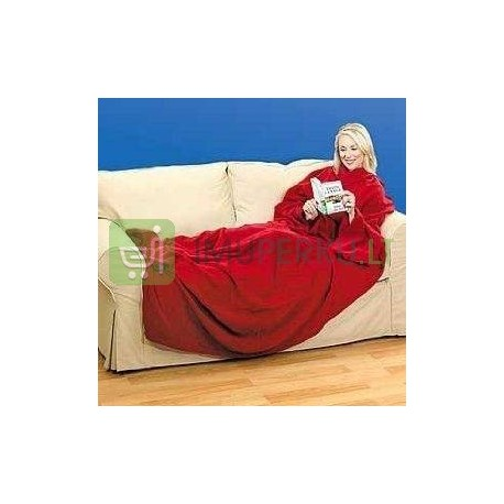 Blanket with sleeves (gown) and pocket - red