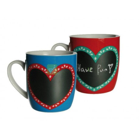 Black board heart mug