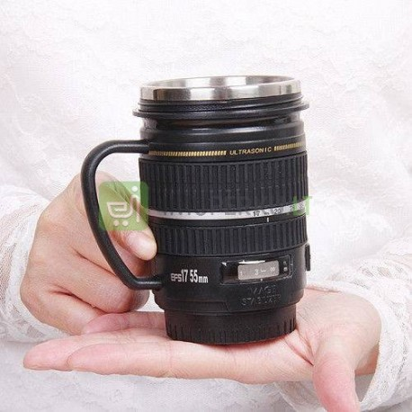 Lens mug with handle and stainless inlet
