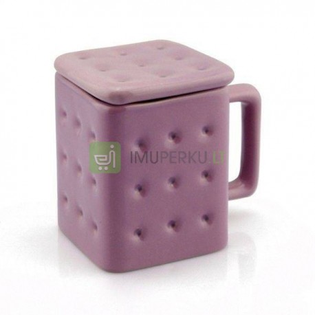 Biscuit mug with lid
