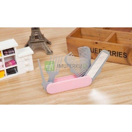 Army comb & mirror - pink