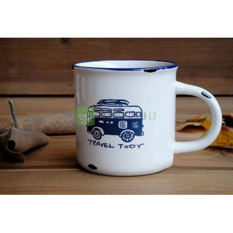 Retro MINI porcelain mug - Travel