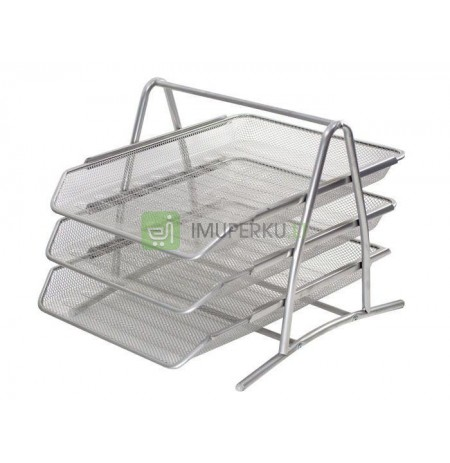 DRAWERS FOR DOCUMENTS 3 METAL SHELVES A4 SILVER