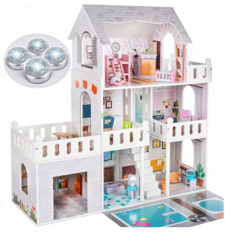 KINDERPLAY LARGE WOODEN DOLL HOUSE LIGHT