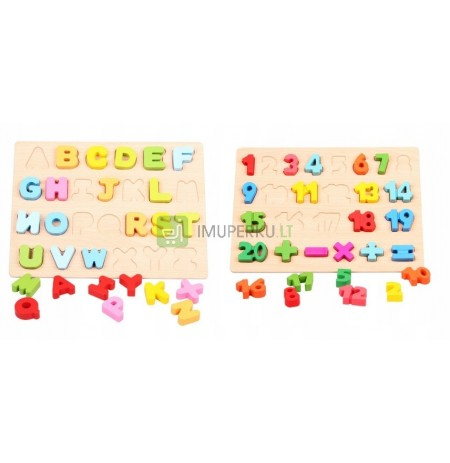 WOODEN PUZZLE SORTER ALPHABET LETTERS NUMBERS
