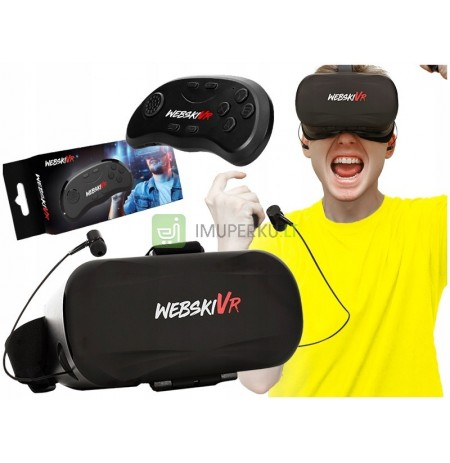 VR GOGGLES WITH EARPHONES + BLUETOOTH REMOTE