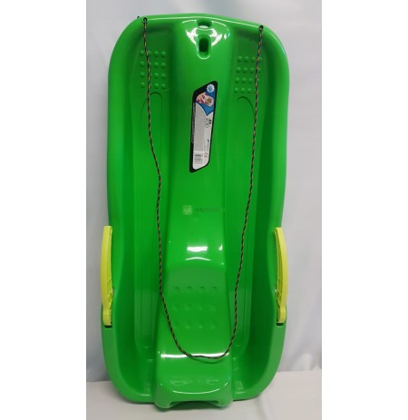 A durable plastic sled for children with a brake