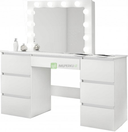 WHITE cosmetic dresser with LED mirror 12 visage