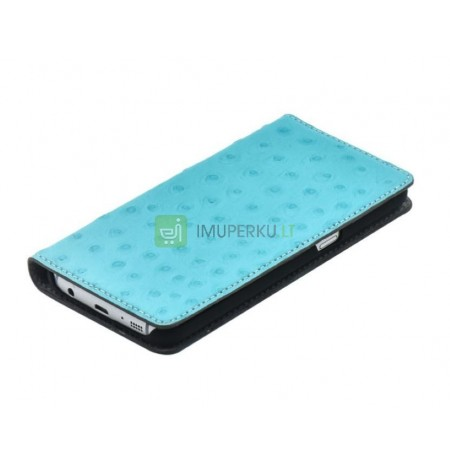 Tellur Book case Ostrich Genuine Leather for Samsung Galaxy S7 turquoise
