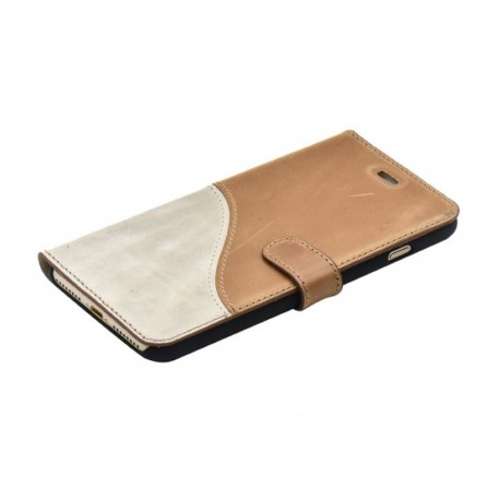 Tellur Book case Genuine Leather for iPhone 7 Plus brown/white