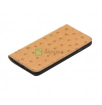 Tellur Book case Ostrich Genuine Leather for iPhone 7 brown
