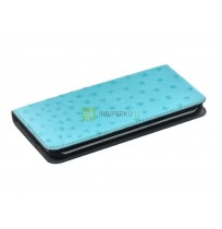 Tellur Book case Ostrich Genuine Leather for Samsung Galaxy S7 Edge turquoise