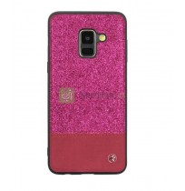 Tellur Cover Synthetic Leather Glitter II for Samsung Galaxy A8 2018 pink