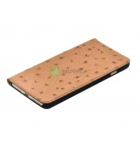 Tellur Book case Ostrich Genuine Leather for iPhone 7 Plus brown