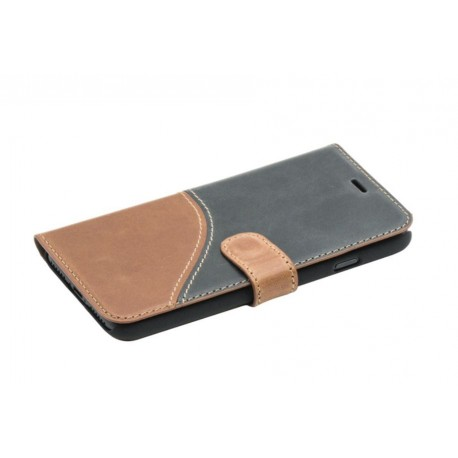 Tellur Book case Genuine Leather for iPhone 7 black/brown