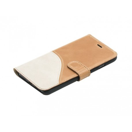 Tellur Book case Genuine Leather for iPhone 7 brown/white