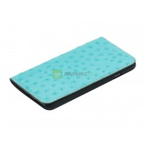 Tellur Book case Ostrich Genuine Leather for iPhone 7 turquoise