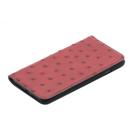 Tellur Book case Ostrich Genuine Leather for iPhone 7 red