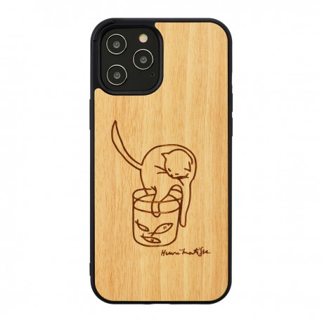 MAN&WOOD case for iPhone 12 Pro Max cat with red fish