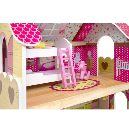 LARGE WOODEN DOLL HOUSE FURNITURE + DOLLS + LED