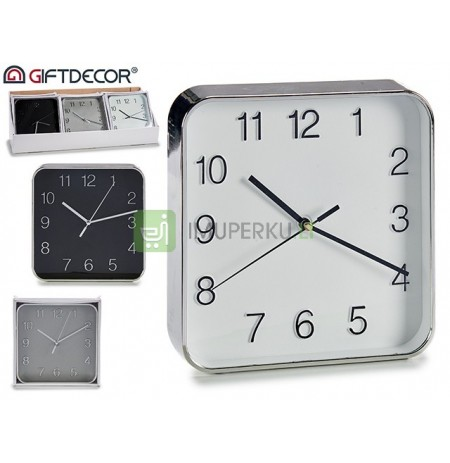 Small square clock, colors 3 times assorted