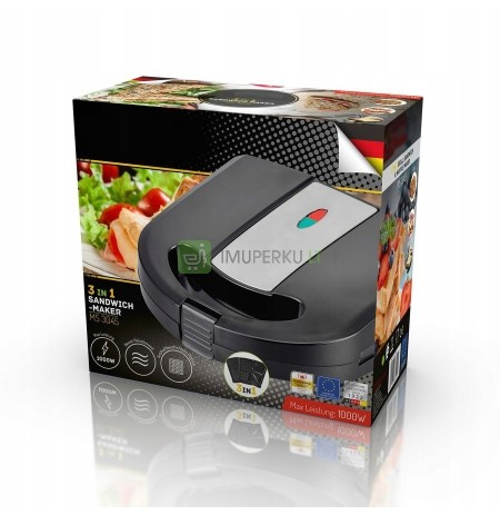 GRILL PANINI TOSTER 3IN1 1000W Waffle Maker