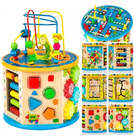 KINDERPLAY WOODEN EDUCATION CUBE 8in1