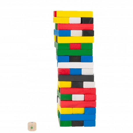 WOODEN BLOCKS JENGA COLORED TOWER FAMILY GAME
