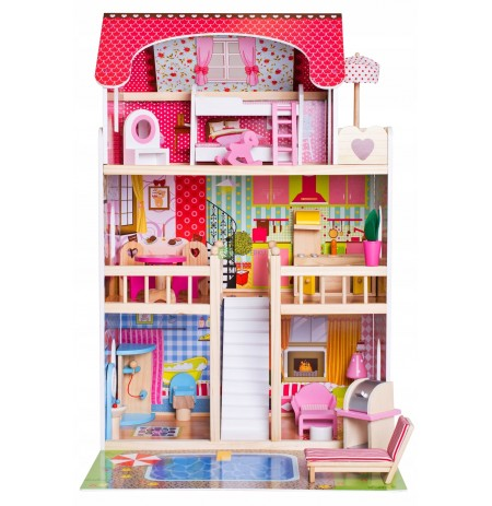 LARGE WOODEN DOLL HOUSE FURNITURE 6 DOLLS TERRACE