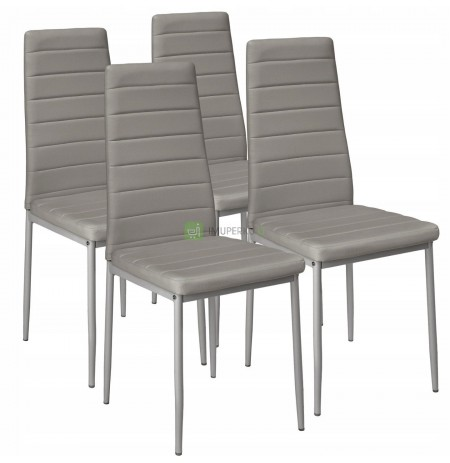 4 CHAIRS GRAY UPHOLSTERED LIVING CHAIR