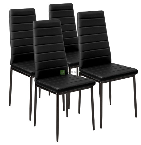 4 CHAIRS BLACK UPHOLSTERED LIVING CHAIR