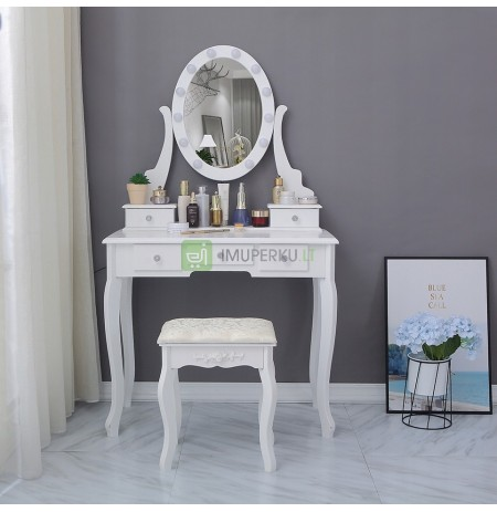 COSMETIC TOILET WITH A MIRROR LED WHITE + STOOL