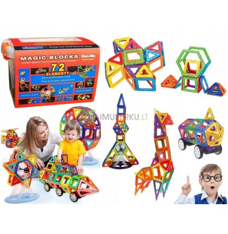 Educational MAGNETIC BLOCKS 72 ELEMENTS A trunk