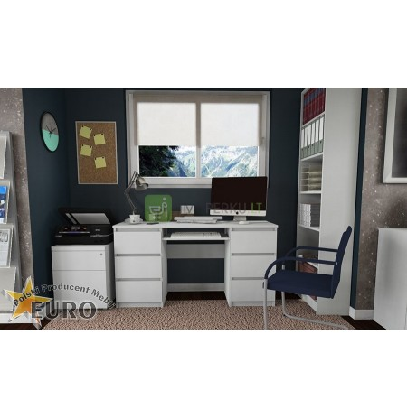 COMPUTER DESK 6 DRAWERS LAPTOP TABLE WHITE