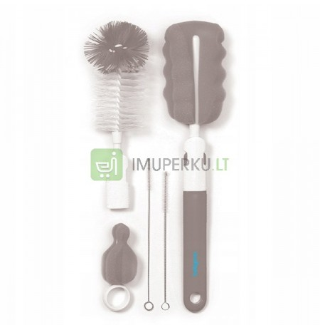 BABYONO SET OF BRUSHES FOR CLEANING BOTTLES GRAY