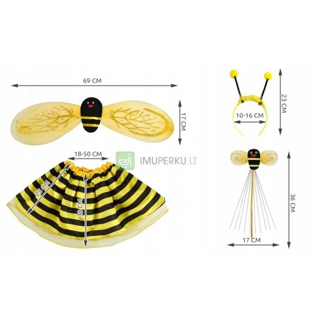 Outfit Bee Costume Set 4in1 Wings 3-10l