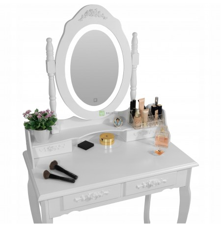 COSMETIC TABLE WITH A MIRROR LED SENSOR + STOOL