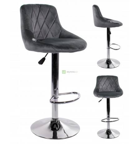 Velvet swivel bar stool adjustable ARES