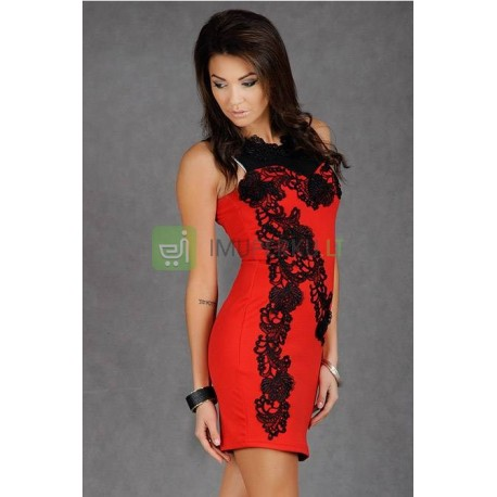EMAMODA EMBROIDERED DRESS - RED 4907-7