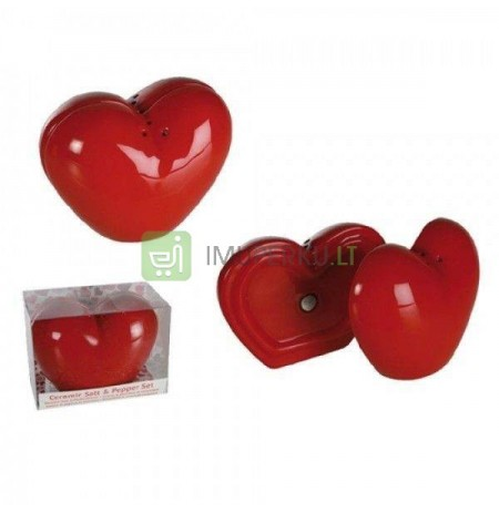 Heart shaped ceramic salt & pepper set