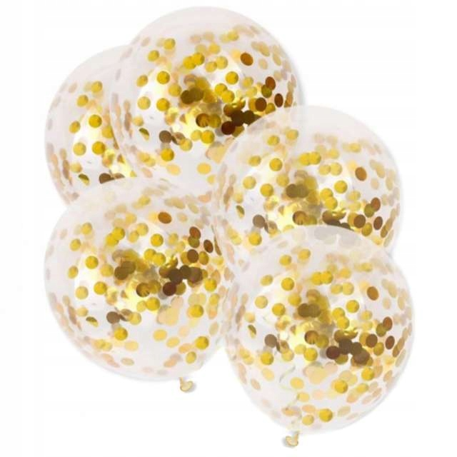 beautiful balloons with real gold CONFETTI BIG x5