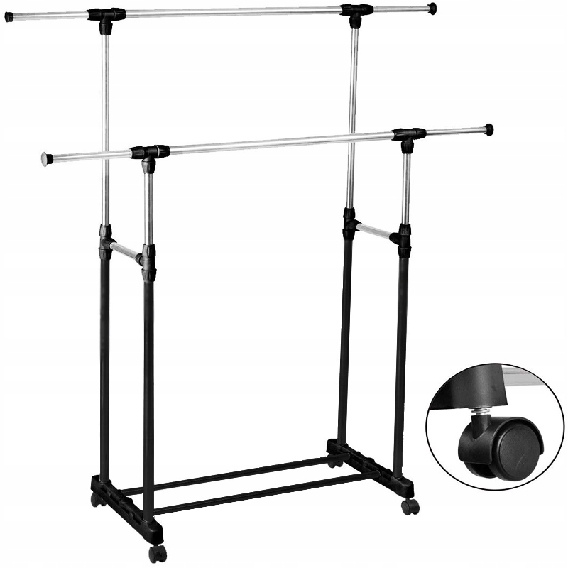 DOUBLE STANDING HANGER ON CLOTHING WHEELS STAND