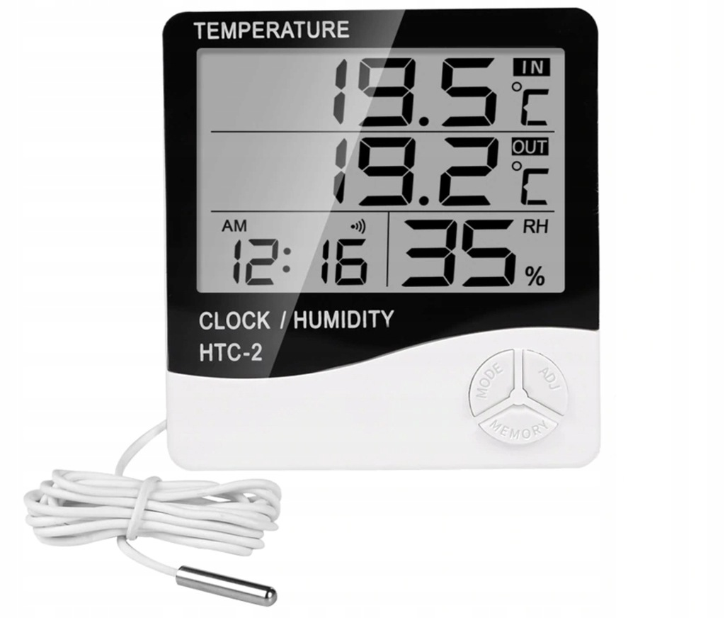 THERMOMETER DIGITAL CLOCK WEATHER STATION HOUSE HUMIDITY