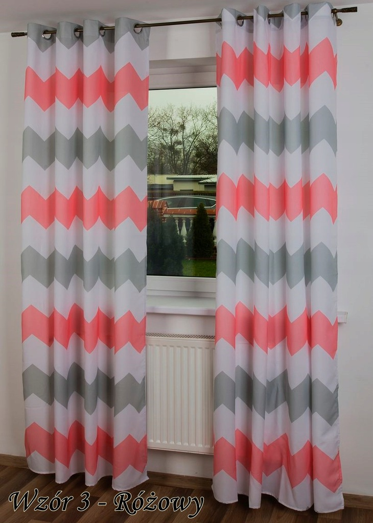Fashionable CURTAINS 145x250 ZYGZAKI triangles Curtain