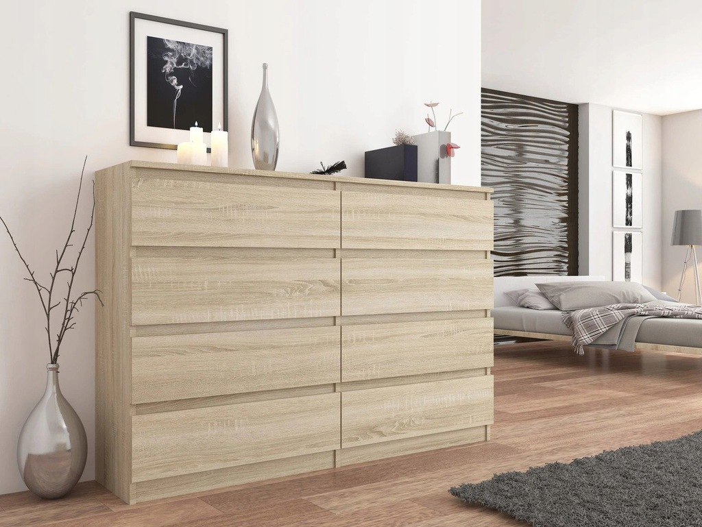 Modern Chest of Drawers 120CM CABINET 8 DRAWERS Sonoma PL