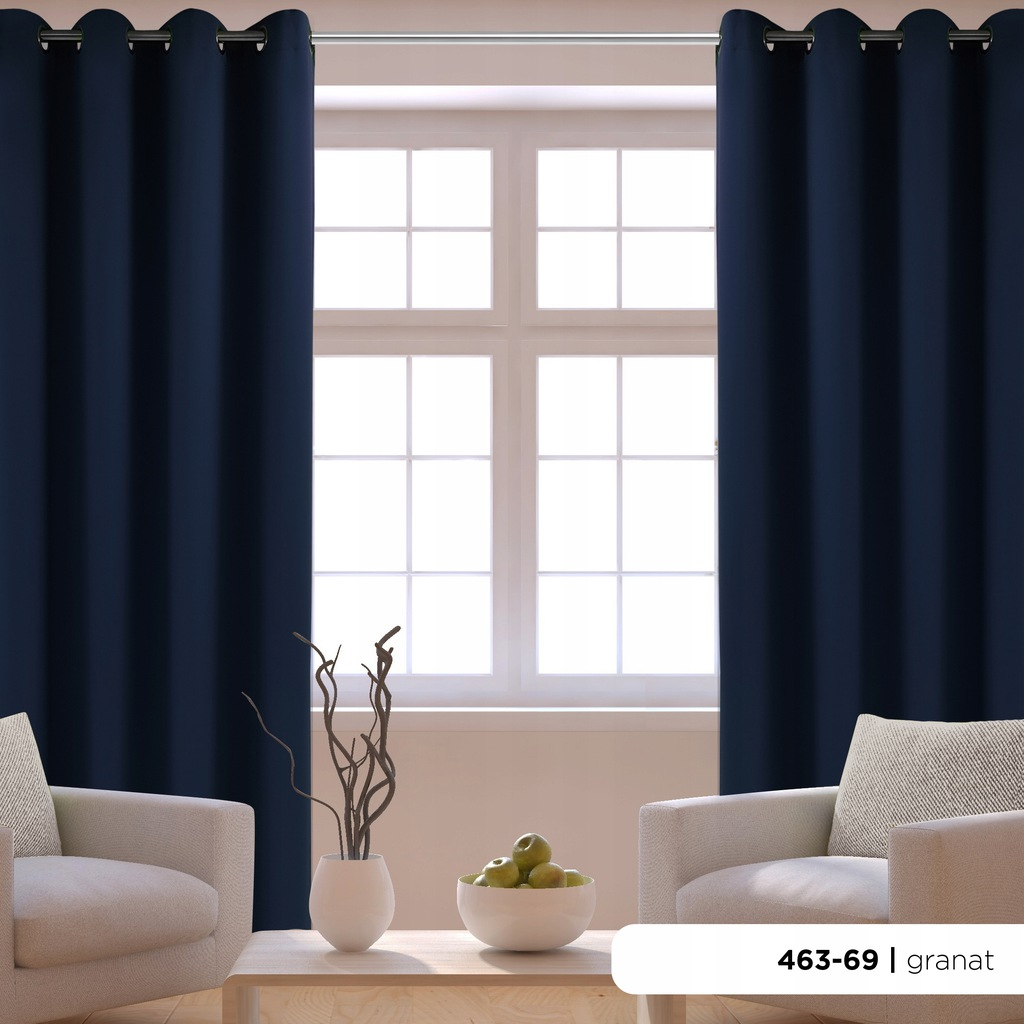Ready curtains WITH GRIMS 140x250 navy blue